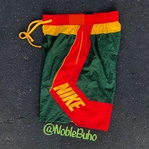 NIKE Throwback Basketball Shorts Green Red Gold